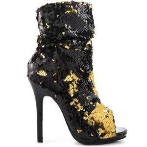 Black and Gold sequin heels